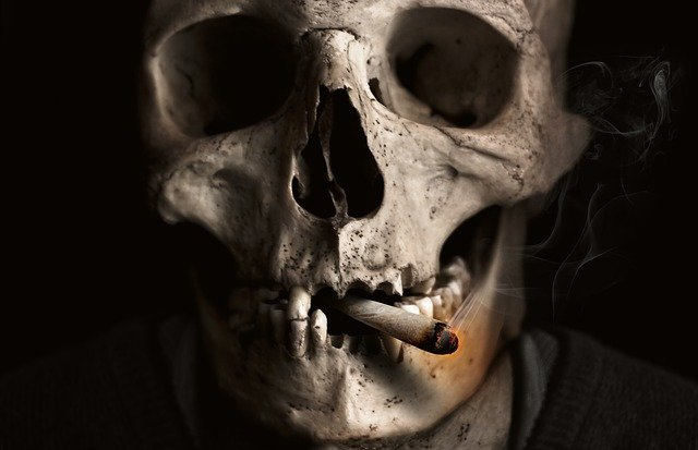 Skull And Crossbones, Skull, Bone, Smoking, Cigarette