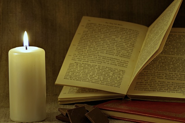 Book, Candle, Read, Old, Blackletter, Evening