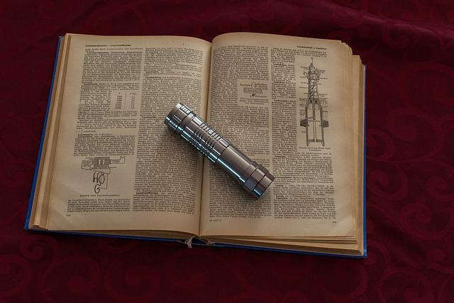 Book, Flashlight, Close, Background, Metal, Alu, Silver