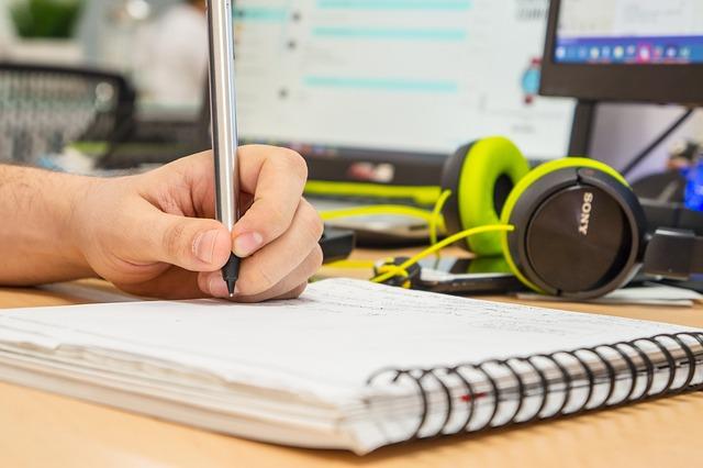 Book, Desk, Hand, Handwritten, Headphones, Man, Men