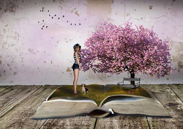 Landscape, Tree, Flowers, Book, Spring, Girl, Dog, Rush