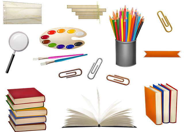 School Supplies, Book, Paper Tags, Paper Clips