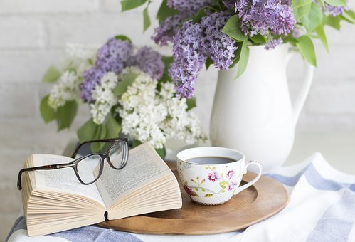 Coffee, Book, Flowers, Setting, Romantic, Shabby, Chic