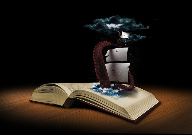 Book, Fantasy, Squid, Ship, Artfully