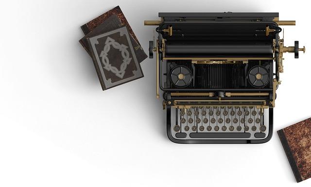 Typewriter, Books, Book Stack, Historic, Vintage, Retro