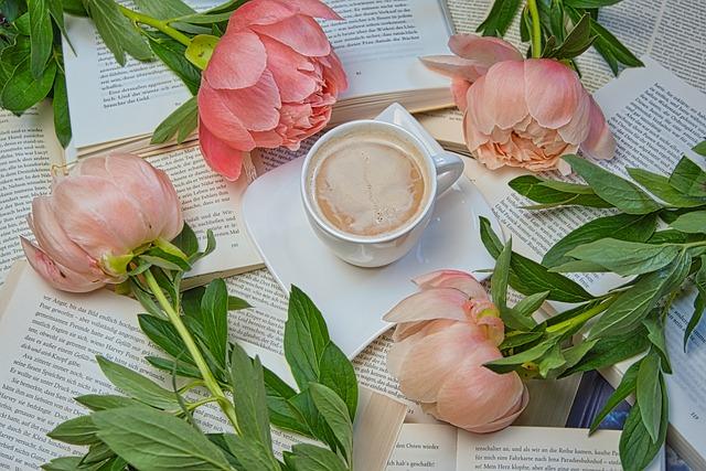 At Home, Books, Read, Bouquet, Flowers, Café Au Lait