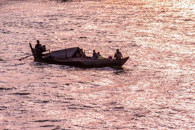 Mekong River, River, Abendstimmung, Boot, Ship, Water