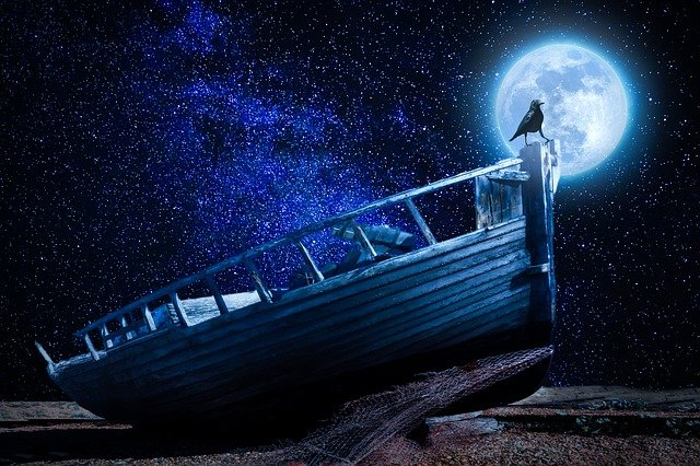 Moonlight, Boot, Old Boat, Wreck, Raven, Due To Lying