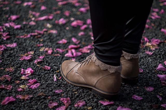 Boots, Feet, Footwear, Ground, Petals, Shoes