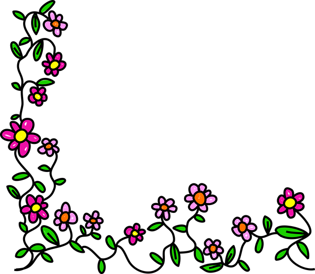 Flowers, Doodle, Whimsical, Cartoon, Border, Frame