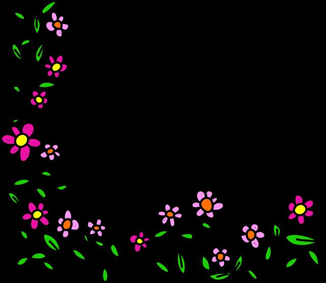 Free photo Border Doodle Frame Cartoon Flowers Whimsical