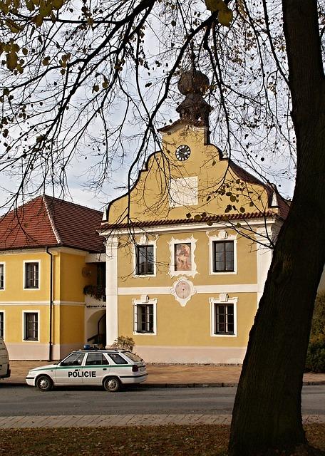 Borovany, Town Hall, Auto, Police, Police Cars