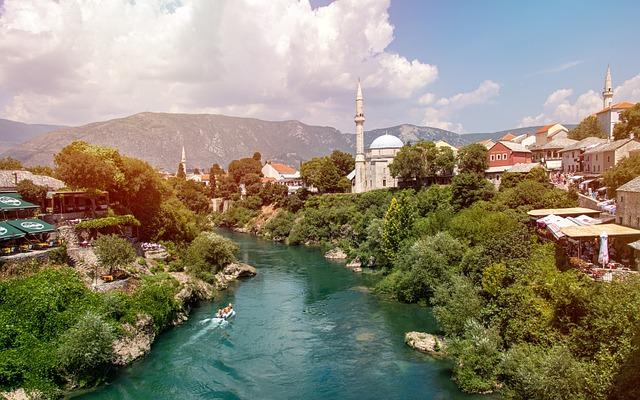 Mostar, Bosnia, Bosnia And Hercegownią, Mosque, River