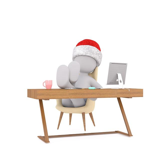 Christmas, Work, Figure, Laptop, Boss, Company