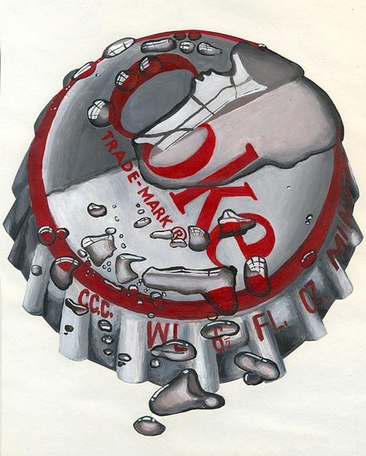 Acrylic, Bottle Caps, Photorealism, Illustrations