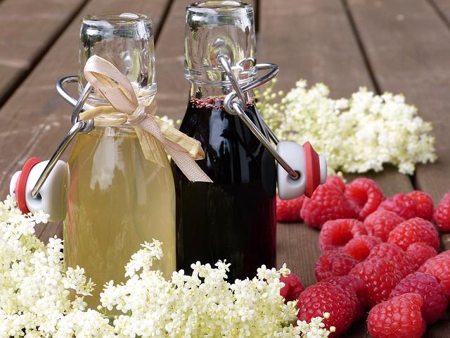 Elder, Flowers, Raspberries, Syrup, Bottles, Bottle