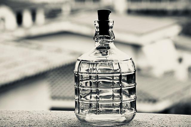 Bottle, Glass, Container, White Black, Terrace, Lights