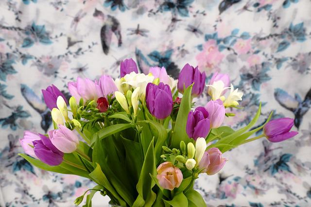 Bouquet, Flowers, Tulips, Freesia, Iris, Vase