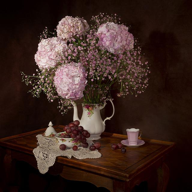 Still Lifes, Flowers, Hydrangea, Bouquet, Flowering
