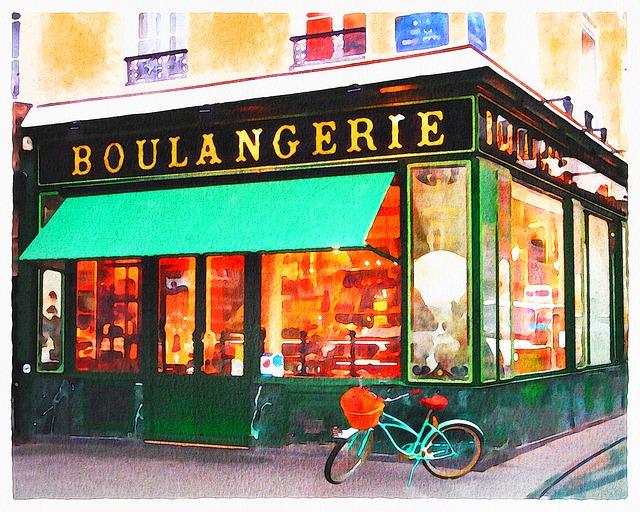 Watercolor Paris Shops, Bakery, Boulangerie, Boutiques