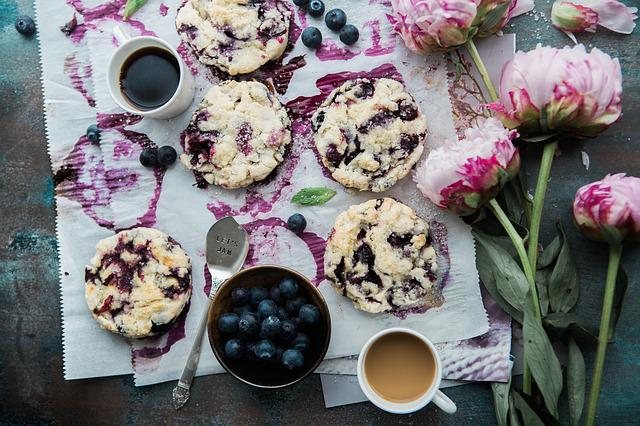 Cookies, Blueberries, Bowl, Delicious, Dessert, Food