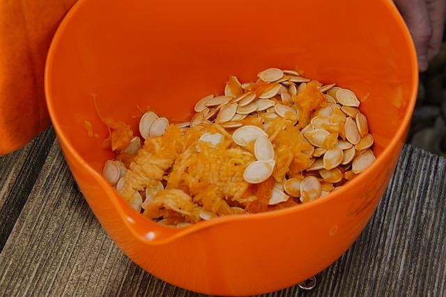 Pumpkin Seeds, Frisch, Inner, Pulp, Pumpkin, Bowl