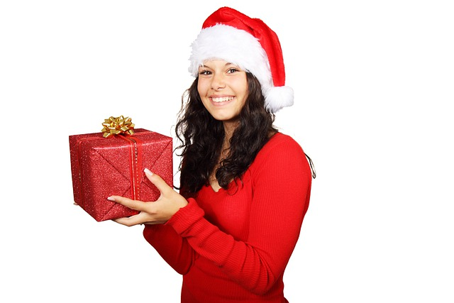 Box, Christmas, Claus, Cute, Female, Gift, Girl, Happy
