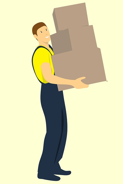 Workman, Delivers, Three Boxes, Isolated, Box Mover