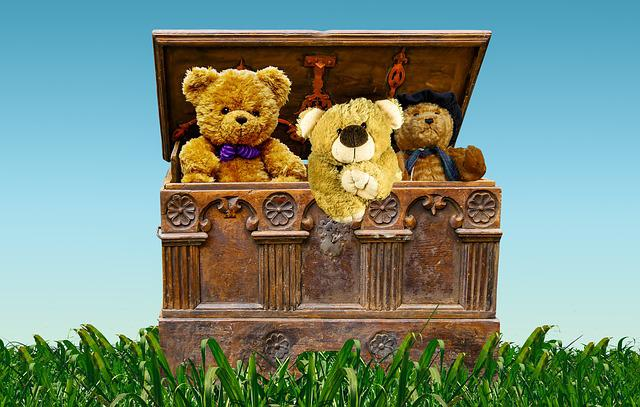 Chest, Box, Treasure, Treasure Chest, Teddy Bears