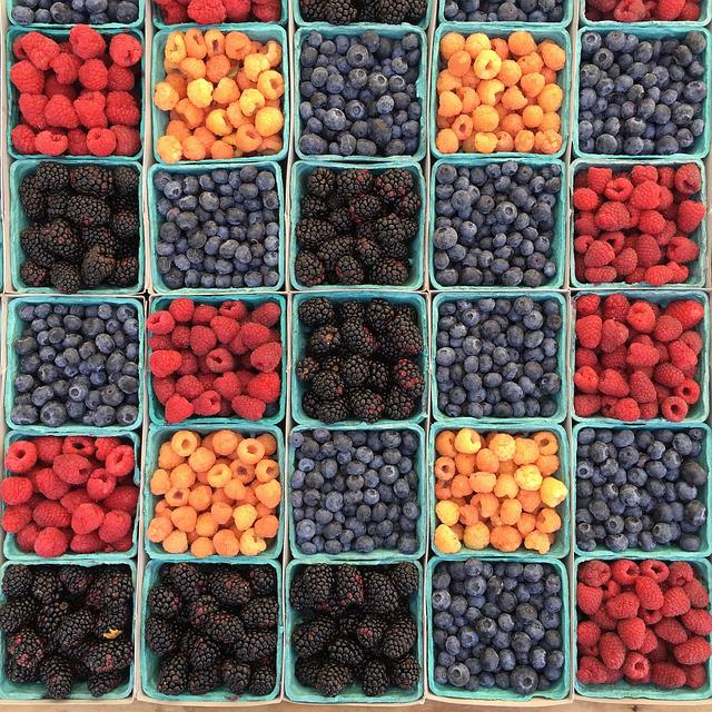Berries, Blueberries, Boxes, Food, Mulberry
