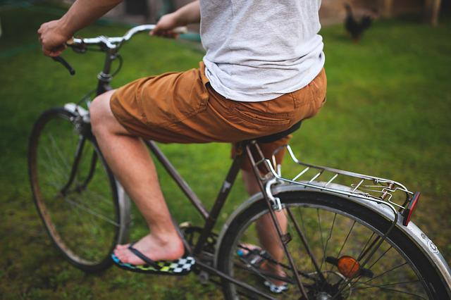 Man, Boy, People, Bike, Bicycle, Shorts, Brown Pants