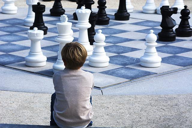 Boy, Chess, Landscape, Kid, White, Chessboard, Pieces