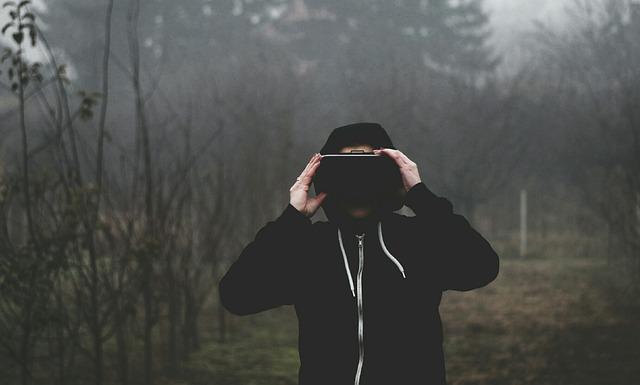 Virtual Reality, Vr Goggles, Men's, Dark, Boy, Outdoors
