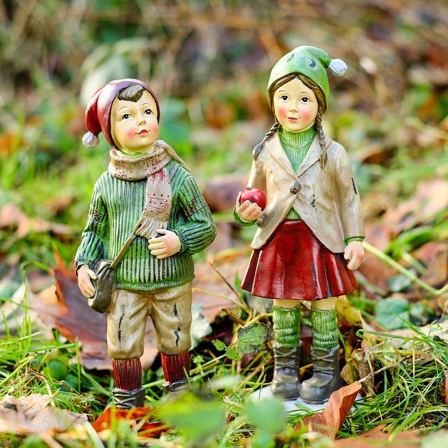Children, Boy, Girl, Run, Forest, Figures, Cute, Cold