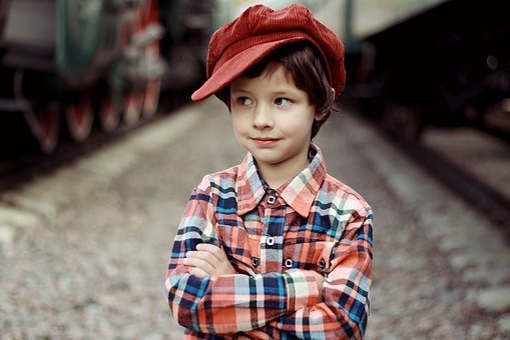 Cap, Smile, Boy, Tomboy, Station, Train, Emotions