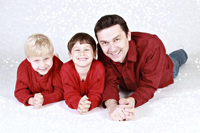 Family, Father, Children, Boys, Christmas, Dad, People