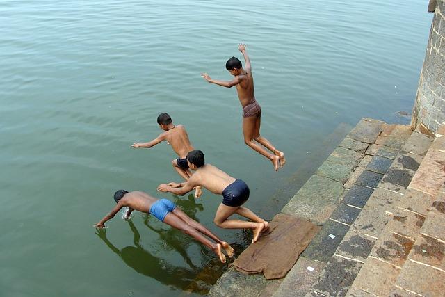 Diving, Children, Boys, River, Krishna, Water