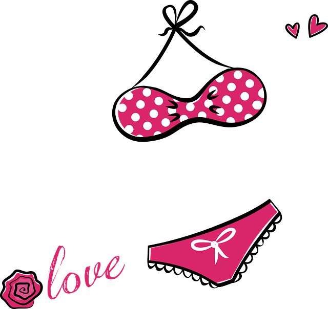 Bikini, Lingerie, Underwear, Bra, Slip, Red, White