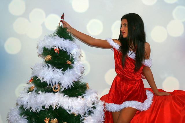 Girl, Christmas, Brad, Decoration, Red