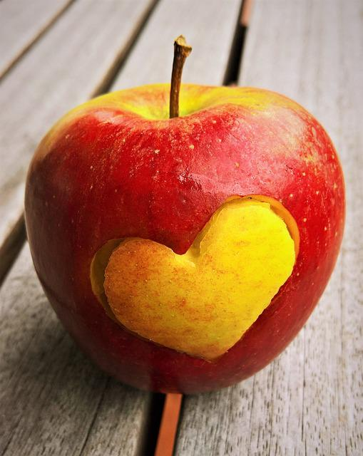 Apple, Heart, Fruit, Braeburn, Eat, Red, Yellow