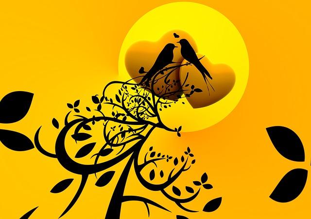 Birds, Chirping, Love, Balz, Sitting, Branch