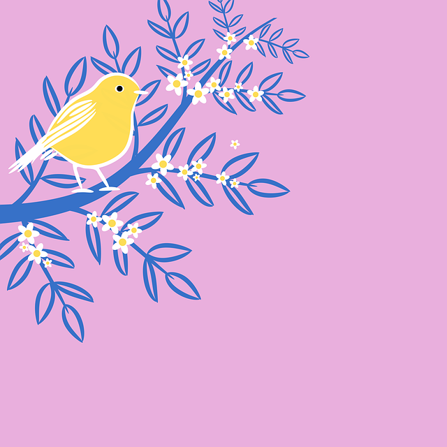 Floral, Bird, Branch, Clipart