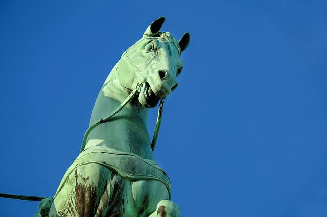 Sculpture, Horse, Copper, Brandenburg Gate, Berlin