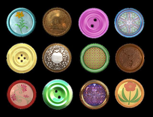 Button, Fastener, Clasp, Brass, Jewel, Needlepoint