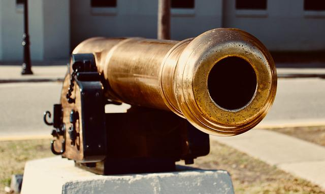 Cannon, Gold, Military, History, Antique, Brass