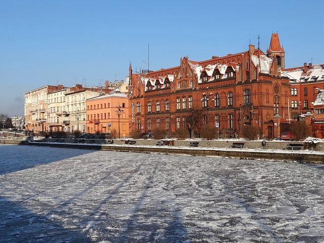 Bydgoszcz, Waterfront, Brda, River, Winter