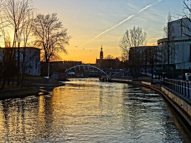 Bydgoszcz, Brda, River, Poland, Sunset, Evening, Water