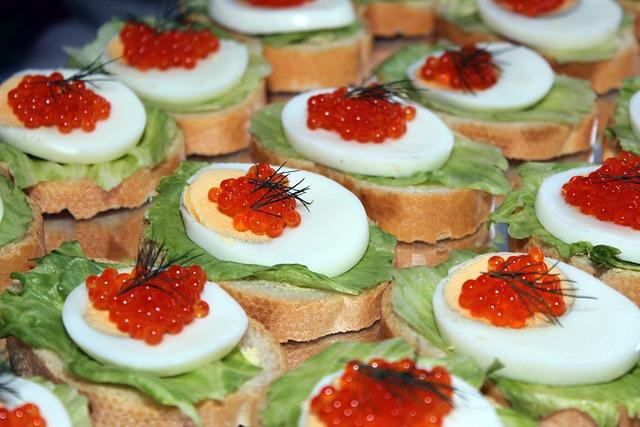 Egg, Caviar, Salad, Bread, Buffet, Cold Buffet
