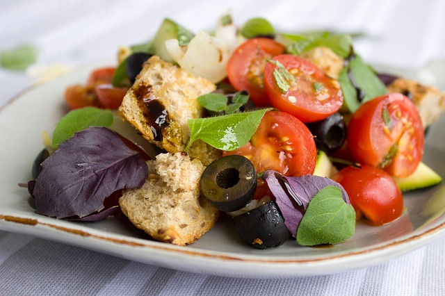 Tomatoes, Bread, Salad, Olives, Basil, Herbs, Vegan
