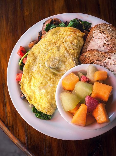Breakfast, Eggs, Fruit, Table, Food, Meal, Bread